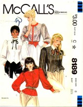 McCall's 8189 Long Sleeve Blouses Size 8 - Bust 31 1/2