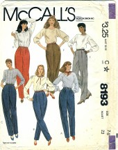 McCall's 8193 Young Juniors Teens Pants Size 7 - 8