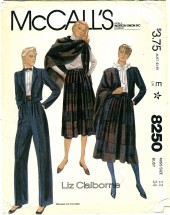 McCall's 8250 LIZ CLAIBORNE Misses Jacket Skirt Pants Shawl Size 12