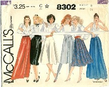 McCall's 8302 Misses Front Wrap Skirts Size 8