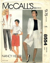 McCall's 8554 NANCY HELLER Jacket Pants Culotte Shorts Size 10
