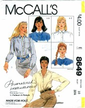 McCall's 8649 PALMER & PLETSCH Misses Shirts Size 10