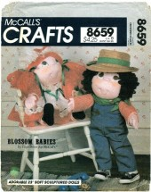 McCall's 8659 Faye Wine BLOSSOM BABIES Girl and Boy Dolls & Clothing