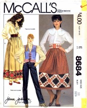 McCall's 8684 Vintage Sewing Pattern Misses Patchwork Vest Skirt Belt Size 10 - Bust 32 1/2