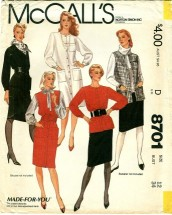McCall's 8701 Dress or Top Jumper Vest Skirt Size 12