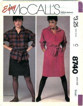 McCall's 8740 Misses Dress or Tunic & Tie Belt Size 10 - 12
