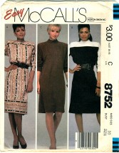 McCall's 8752 Misses Yoked Pullover Dress Size 10