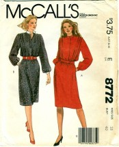 McCall's 8772 Misses Dress & Belt Size 18
