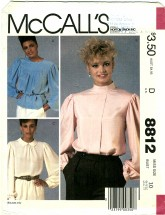 McCall's 8812 Misses Pullover Blouses Size 10 - Bust 32 1/2