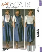 McCall's 9121 Misses Skirt Straps Bibs Size 8