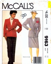 McCall's 9163 Sewing Pattern Full Figure Jacket Tie Belt Skirt Pants Size 20