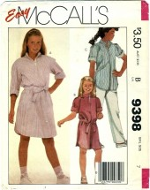 McCall's 9398 Girls Dress Tunic Belt Pants Size 7