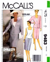 McCall's 9483 Sewing Pattern Misses Jacket Top Skirt Suit Size 12