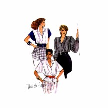 1980s Misses Blouse Mariette Hartley McCalls 9494 Vintage Sewing Pattern Size 10 Bust 32 1/2