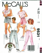 McCall's 9531 Misses UNISEX Mens Pants & Shorts Waist 23 - 24