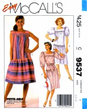 McCall's 9537 Womens Low Waist Dress Vintage Sewing Pattern Size 6 - 8 - 10