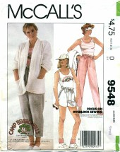McCall's 9548 CAMP BEVERLY HILLS Jacket Top Pants Size 10 - 12
