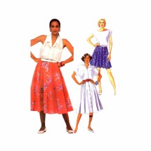 1980s Misses Semi Circular Skirt McCalls 9605 Vintage Sewing Pattern Size 6 Waist 23