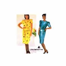 Liz Claiborne Jewel Neck Tulip Sleeve Dress McCalls 2370 Vintage Sewing Pattern Size 14 Bust 36