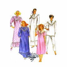 1980s Misses Robe Nightgown Pajamas McCalls 2778 Sewing Pattern Size 6 - 8 Bust 30 1/2 - 31 1/2