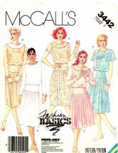 McCall's 3442 Sewing Pattern Misses Pleated Dress Size 8 - Bust 31 1/2