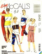 McCall's 3543 Sewing Pattern Unisex Top Pants Shorts Bust / Chest 40 - 42