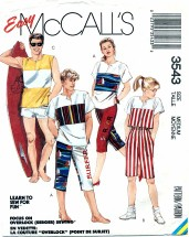 McCall's 3543 Sewing Pattern Unisex Top Pants Shorts Bust / Chest 36 - 38
