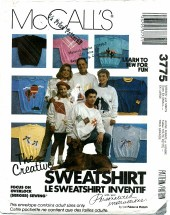 McCall's 3775 Unisex Sweatshirts & Designs Chest 30 1/2 - 46
