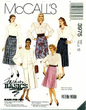 McCall's 3975 Pleated Skirts Size 12