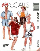 McCall's 4006 Unisex Shirt & Boxer Shorts Size 10 - 12