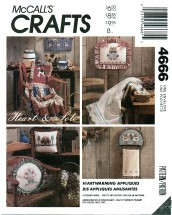 McCall's 4666 Heartwarming Appliques Crafts Sewing Pattern