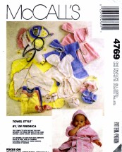 McCall's 4769 Infants Bath Robe Bunting Kite Wrap Bibs Diaper Cover Bootees