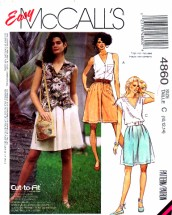 McCall's 4860 Sewing Pattern Womens Flared Shorts Size 8 - 10 - 12 Waist 24 - 25 - 26 1/2