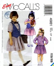 McCall's 4981 Sewing Pattern Girls Vest Dress Size 4 - 5 - 6