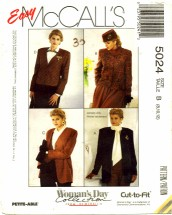 McCall's 5024 Misses Jackets Size 8 - 12 - Bust 31 1/2 - 34