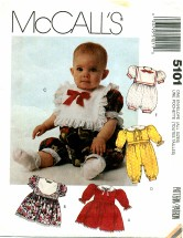 McCall's 5101 Infants Dress & Jumpsuit or Romper Size Newborn - Large