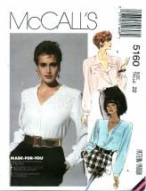 McCall's 5160 V-Neckline Blouses Size 22