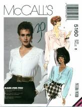 McCall's 5160 V-Neckline Blouses Size 8