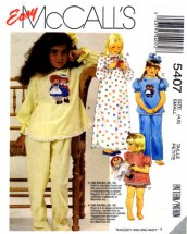 Girls Raggedy Ann & Andy Nightgown Pajamas McCall's 5407 Sewing Pattern Size 4 - 6