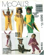 McCall's 5620 Lion Clown Bunny Dragon Ballerina Mouse Santa Suit Costumes Size 1