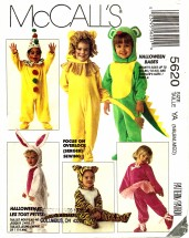 McCall's 5620 Lion Clown Bunny Dragon Ballerina Mouse Santa Suit Costumes Newborn - Medium