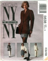 McCall's 5638 NY COLLECTION Jacket Blouse Skirt Pants Suit Size 6