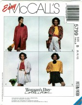 McCall's 5799 WOMAN'S DAY Coat or Jacket Size 8 - 12