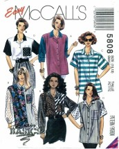 McCall's 5808 Sewing Pattern Misses Front Buttoned Shirts Size 10 - 12 - Bust 32 1/2 - 34
