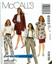 McCall's 6053 Cardigan Tunic Top Skirt Pants Size 14 - 18