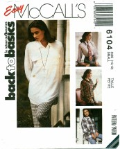 McCall's 6104 Oversized Shirt Size 10 - 12