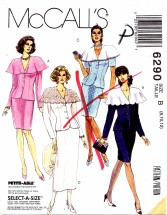 McCall's 6290 Two-Piece Dress Top Skirt Size 8 - 12 - Bust 31 1/2 - 34