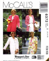 McCall's 6372 Sewing Pattern Womens 3 Hour Unlined Jacket Size 12 - 14 - 16 Bust 34 - 36 - 38