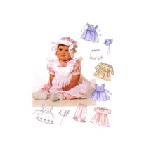 Infants Pinafore Dress Panties Pantaloons Bonnet McCalls 6853 Sewing Pattern Size S - M - L - XL