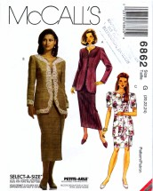 McCall's 6862 Sewing Pattern Misses Jacket Skirt Suit Size 20 - 22 - 24